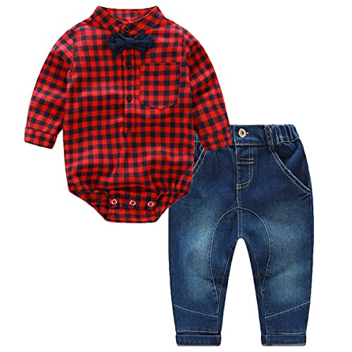 2108560b618cd Puseky Newborn Baby Boys Red Plaid Romper Jumpsuit+Jeans Pants Outfits  Clothes (0-