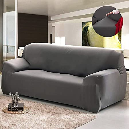 House of Quirk Universal Sofa Cover Big Elasticity Cover for Couch Flexible Stretch Sofa Slipcover (Dark Grey, Triple Seater)(190-230 cm)