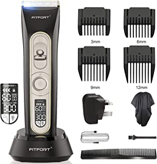 Hair Clippers Trimmer - Professional Cordless Hair, Beard and Body Hair Trimmer for men and Family, Haircut Kit with Titanium & Ceramic Blades, LED Display, Rechargeable, Waterproof for Quick Cut