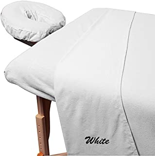 500 Thread-Count Egyptian Cotton 3-Piece Massage Table Spa Sheet Set (1Pc Fitted Sheet,1Pc Flat Sheet & 1Pc Fitted Face Rest Cover) Fit up to 7