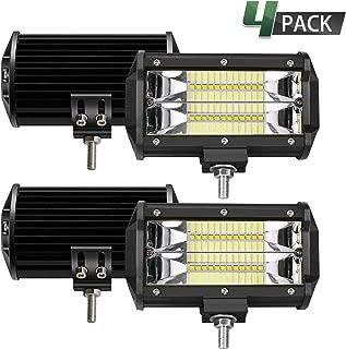TURBO SII 5Inch 72W LED Light Bar Triple Row Upgrade Chipset Spot Beam Led Bar Driving Fog Lamp Off Road Lights for Trucks ATV UTV Polaris Jeep Boat Lighting (4Pcs)