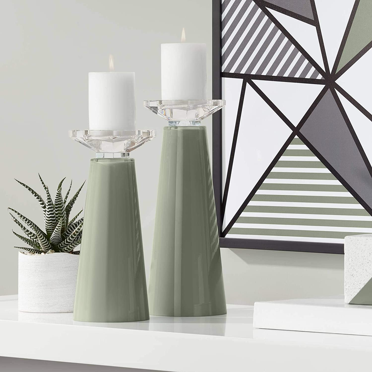 Color Popular standard Large special price + Plus Meghan Deep Lichen Green Glass Pillar Holder Candle