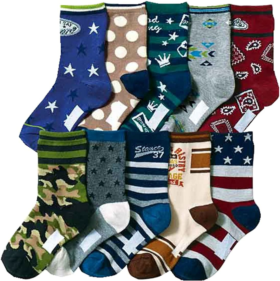 Little Boys Athletic Socks Cotton Kids Different Fancy Socks 10 Pairs