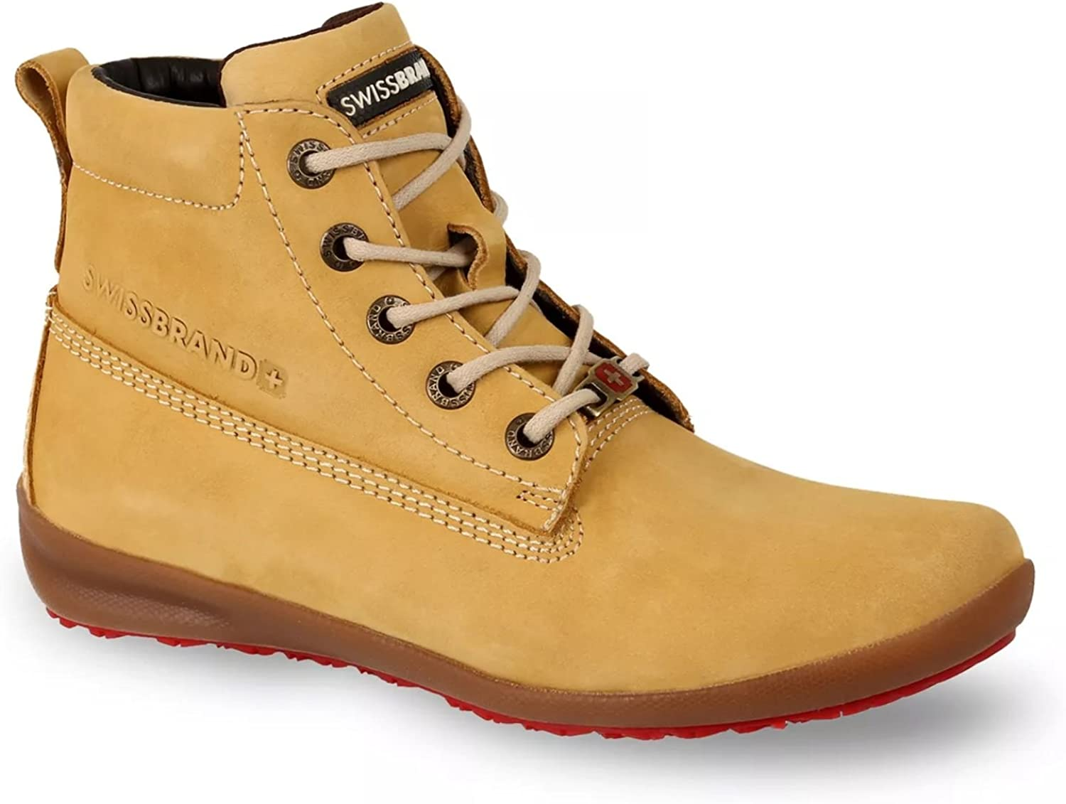 Swissbrand Women's Casual Boot Yellow Leather Lace-Up Cushion Comfort shoes
