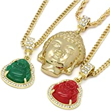 6 pcs Bundle Set 14k Gold Plated Hip Hop Fully Cz Buddha Chain Pendants Set