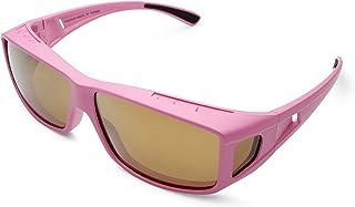 Mr.O Fitover Polarized Sunglasses + Ultra thick Microfiber Pouch (Pink, Light brown w/gold Revo)