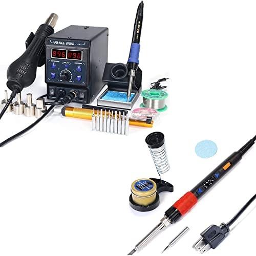high quality YIHUA 8786D-I Soldering popular & Rework Station bundle with YIHUA 928D-III High Power Soldering Iron as Secondary/Backup with Iron Holder, Soldering Cleaning Kit, and Accessories online sale (22 Items) outlet online sale
