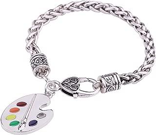 Stylish Artsy Paint Palette and Brush Pendant Wheat Chain Gift Bracelet