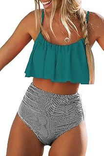CUPSHE Women's High Waisted Falbala Bikini Set