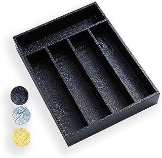Berglander Range Couvert en Bois avec Cuir Noir, Organisateur tiroir, Plateaux à Couverts, tiroir Rangement,Organisateur d...