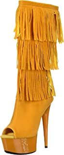 The Highest Heel Women's Amber 302 Western Style Open Toe Microsuede Fringe Boot Mid Calf, Yellow, 9 M US