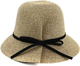 Songlin @ yuan Ms. Summer UV Protection Beach Visor Ladies Hand Crochet Wide-Brimmed Hat 2019 New Size:56-58cm (Color : Khaki, Size : 56-58CM)