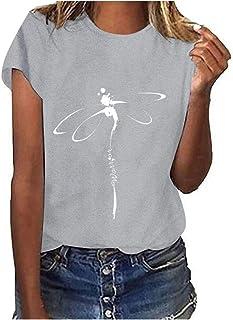 Bunte Blumen Motiv T-Shirt Damen Sommer Oberteile Lässig Print Kurzarm O-Ausschnitt Locker T-Shirt Bluse Top Casual Einfar...