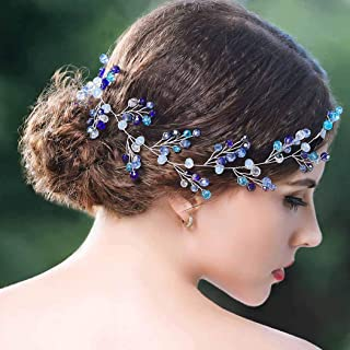 Yean Blue Wedding Headband Crystal Silver Long Hair Vine Baby Wreath Headdress for Bride and Bridesmaid