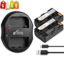 Pickle Power 2 Pcs NP-FM50 NP-FM30 NP-FM51 NP-QM50 NP-QM51 NP-FM55H Replacement Batteries and Dual Slots USB Charger for Sony M Type NP-FM50 Equivalent Camcorder/Camera. (1900mAh, 7.4V)