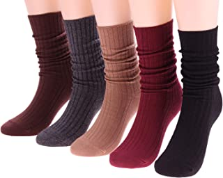 5 Pack Womens Cotton Crew Socks Casual High Ankle Knit Socks Solid Color 5-10 C55
