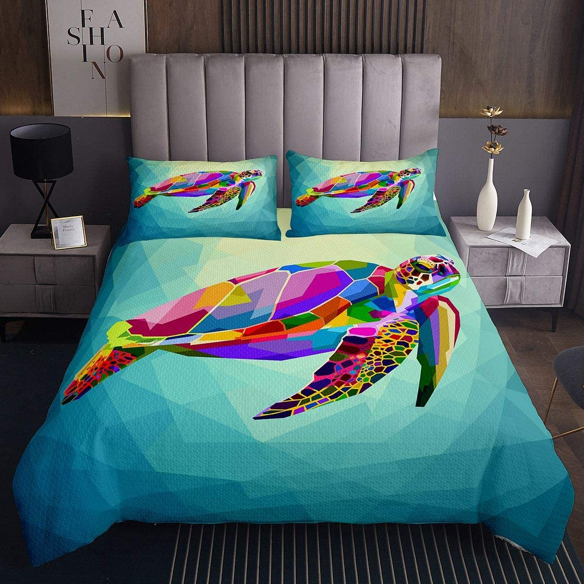 Feelyou Turtle Coverlet Colorful fo Max 62% OFF Pattern Sea Denver Mall Bedspread