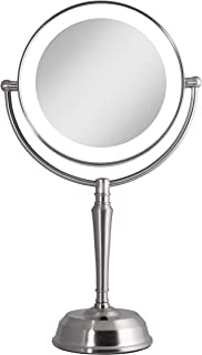 Zadro 10X Mag Next Generation LED Rechargeable Round Double Sided Satin Nickel Mirror
