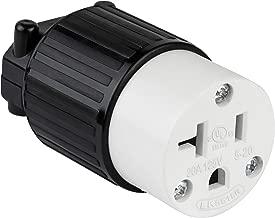 ENERLITES Industrial Grade 20A 125V Straight Blade Cord Connector, NEMA 5-20R, 2P, 3W, 66211-BK, Black