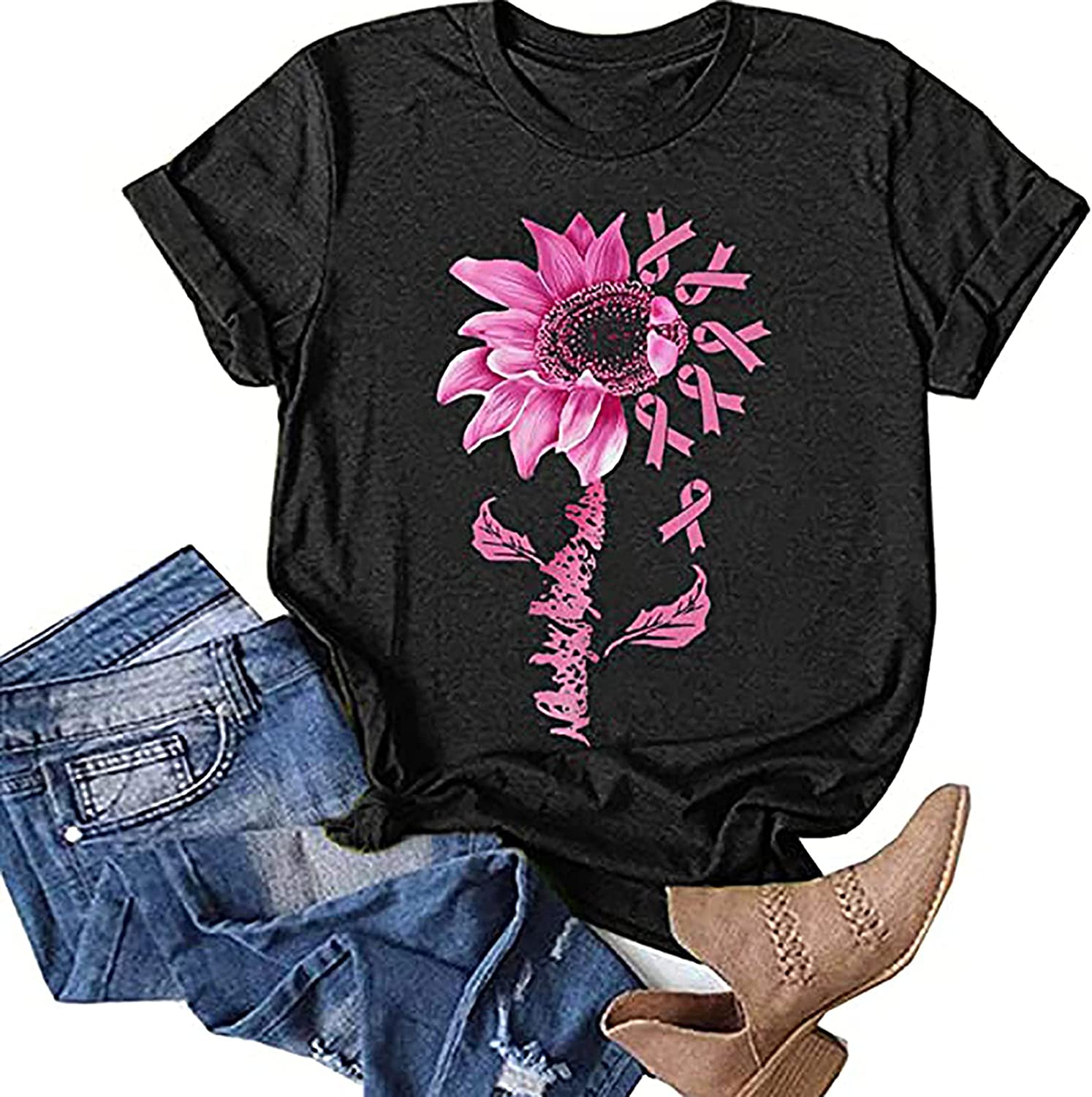 Womens Summer Workout Tshirt Tops Plus Size Short Sleeve Casual Loose Tunic Tees Sunflower Printed O-Neck Comfy Blouse