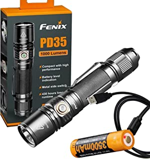 Fenix PD35 V2.0 2018 Upgrade 1000 Lumen Flashlight w/ Fenix 3500mAh Built-in USB Rechargeable Battery & LumenTac Charging Cable
