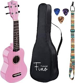FINO Ukulele Kit for Beginners Rainbow Series,Soprano Ukulele Beginner Pack-21 inch w/Gig Bag,Strap and Picks,Small Guitar for Kids 5-8(Pink)