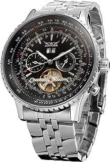Andoer Men's Automatic Mechanical Watch Steel Band Fashion متعددة الوظائف معصم تقويم التاريخ عرض ساعات
