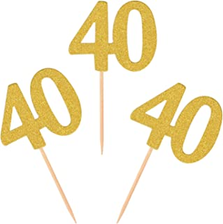 Donoter 50pcs 40th Cupcake Toppers Gold Glitter Number 40 Cake Picks for Birthday Anniversary Party Decoration