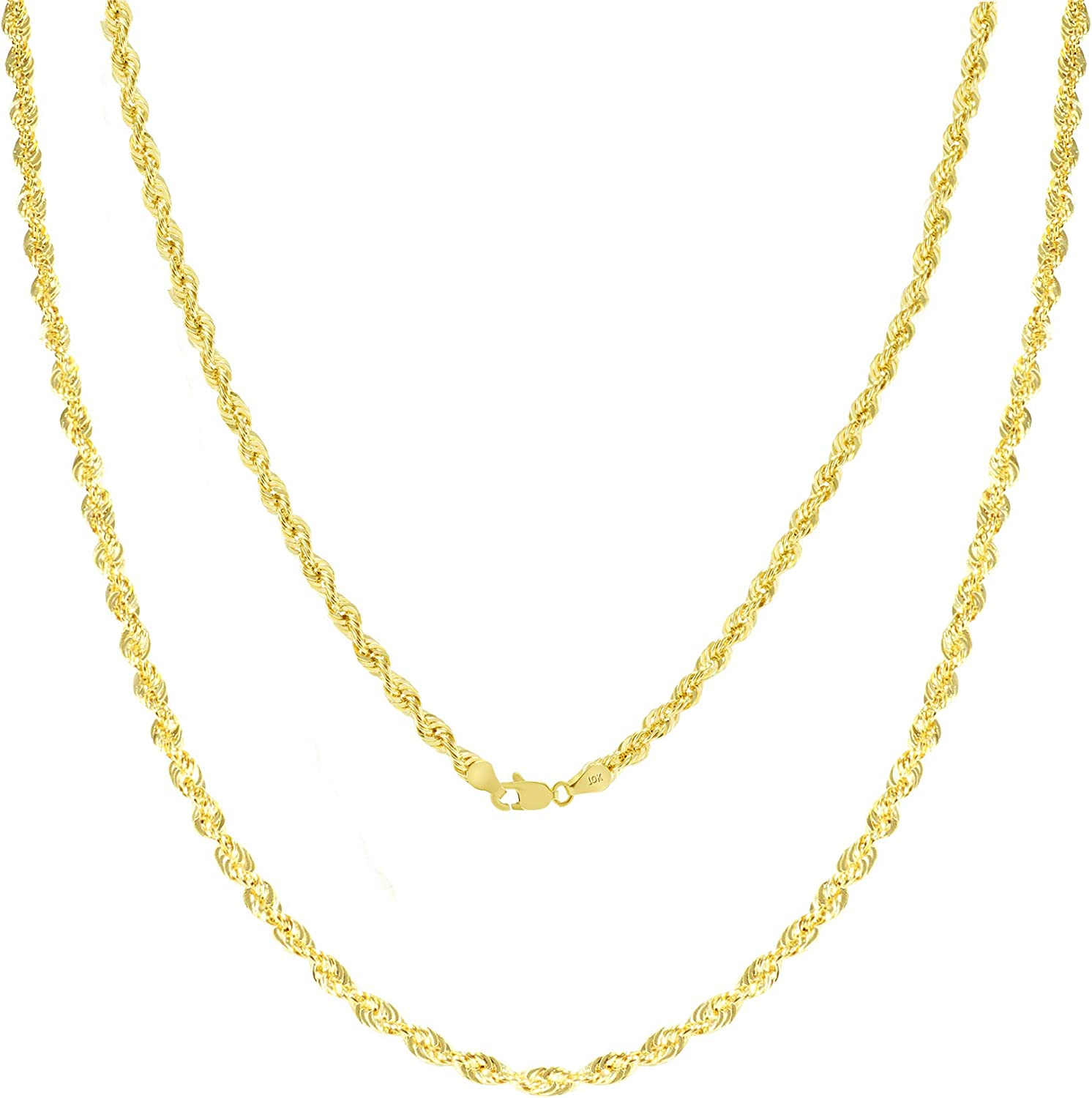 Nuragold 10k Yellow Gold 2.5mm Diamond Cut Rope Chain Pendant Necklace, Mens Womens Lobster Lock 16