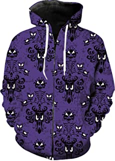 Men's Full-Zip Hoodie Casual Tracksuit Haunted Mansion - Grim Grinning Ghosts Printed Sports Casual Long Sleeve Loose Fitness Sweatshirts L