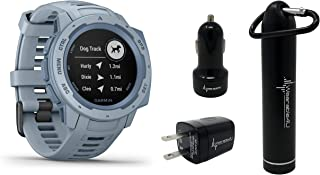 Garmin Instinct Rugged GPS Watch and Wearable4U Ultimate Power Pack Bundle (Sea Foam)