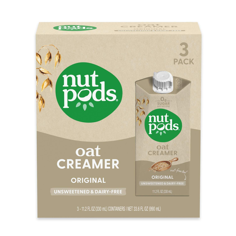 nutpods Oat Original, (3-Pack), Unsweetened Dairy-Free Creamer, Nut-Free Creamer, Made from Oats, Gluten Free, Non-GMO, Vegan, Kosher