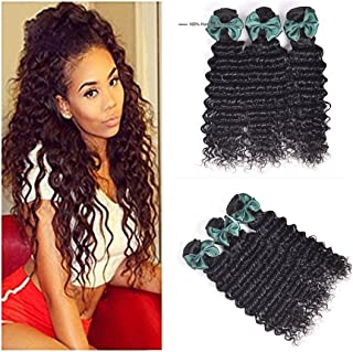 Luduna Deep Wave Bundles Wet and Wavy Human Hair Weave Bundles 100% Uprocessed Brazilian Deep Curly 3 Bundles Hair Extension Mixed Length (12 14 16, Natural Color)
