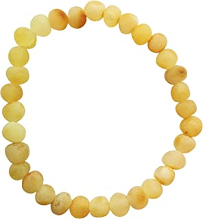 UMAI Baltic Amber Adult Bracelet – Unpolished and Raw - Lemon Color – 7 inches Long –Elastic - Anti-inflammatory - Natural Pain Relief – Certified Baltic Amber