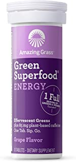 Amazing Grass Green Superfood Effervescent Energy Tablets with Alkalizing Green and Antioxidant Blend, Grape, 10 Count