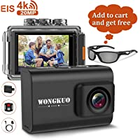 Wongkuo 4K 20MP Ultra HD WiFi Sport Waterproof Action Camera w/ EIS (Black)