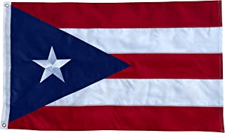 Best Puerto Rico Flag - 3x5 Foot Outdoor Nylon Banner with Embroidered Star and Double Stitched Sewn Stripes - Durable UV Fade Resistant Puerto Rican Flag Review