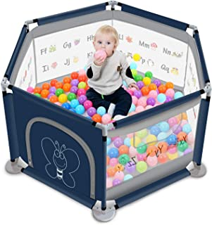 GrowthPic Baby Playpen, Playard for Baby and Toddlers- Safety Play Pen for Infants with Early Educational Design, Lightwei...