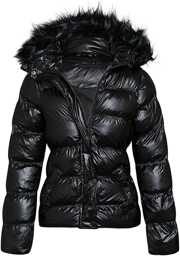 Womens Shiny Wetlook Winter Quilted Jacket