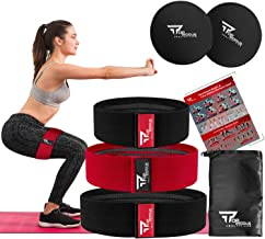 TOPRODUS Fabric Resistance Bands & Core Sliders Exercise Set – 3 Fabric Bands & 2 Strength Slides for Legs, Butt, Hips, Gl...