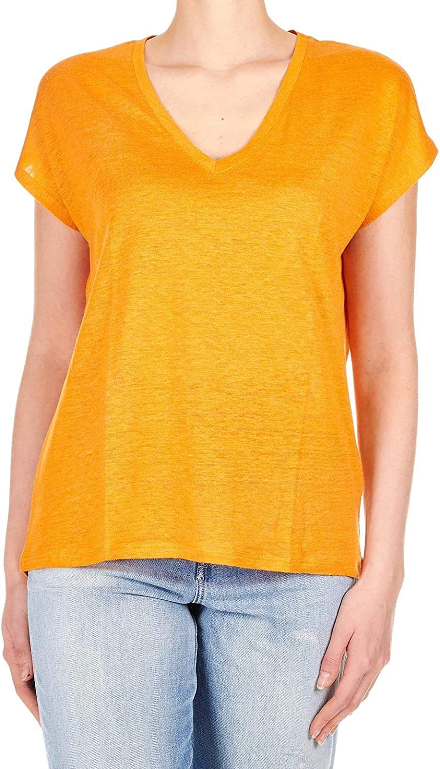 Majestic Filatures Women's J010FTS159 orange Linen TShirt