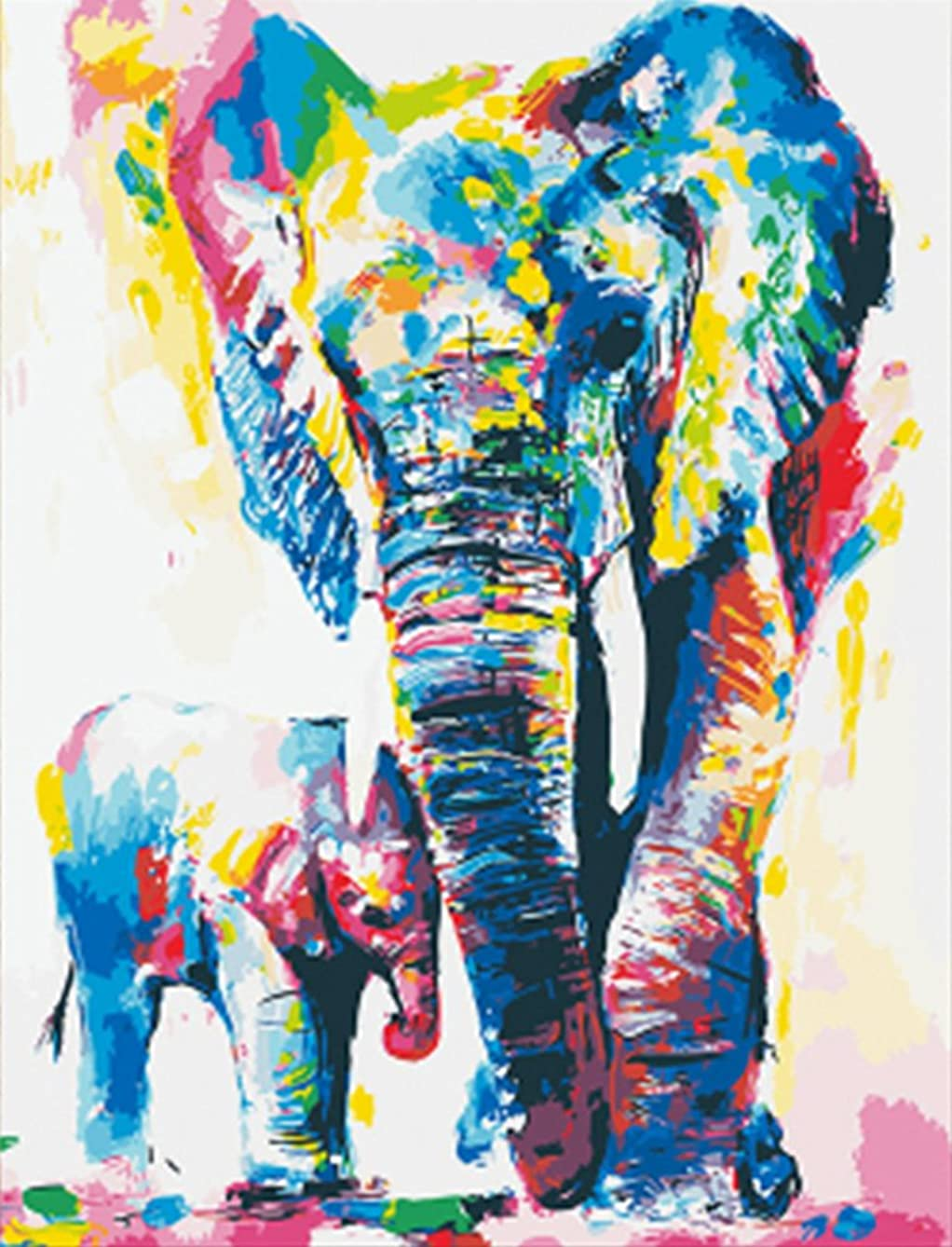 Wowdecor Paint by Numbers Kits for Adults Kids, DIY Number Painting - Colored Elephants Family 40 x 50 cm - New Stamped Canvas (Framed)