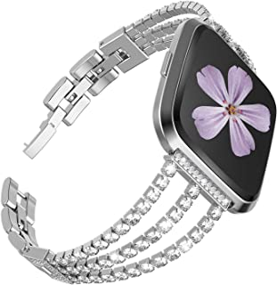 TOYOUTHS Dressy Bracelet Compatible with Fitbit Versa/Versa 2/Versa Lite & Special Edition Bands for Women Stainless Steel Metal Replacement Wristbands Diamond