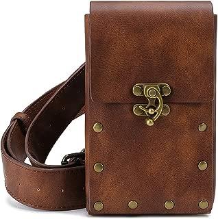 Steampunk Hiking Waist Bag Dark Brown Women's Multifunction Fashion Trumpet Postman Messenger Bag Men Belt Bag Mobile Phone Outdoor Bag (Brown)