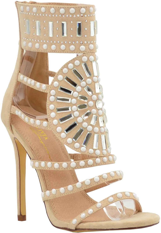 Olivia Olivia Olivia och Jaymes O.J. Embellished Sparkly Open Toe hög klack Ankle Strap Rhinestone Sandaler för kvinnor  försäljning