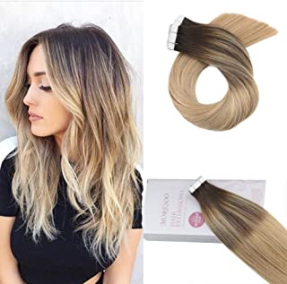 Moresoo 24 Inch Tape in Hair Extensions Ombre Human Hair Balayage Color #2 Brown Fading to #16 and #24 Blonde Dip Dyed Hair Extensions Remy Hair Extensions Tape in 20pcs 50G Per Pack