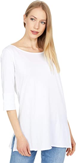 Rolled Elbow Sleeve Tunic in Pima Jersey