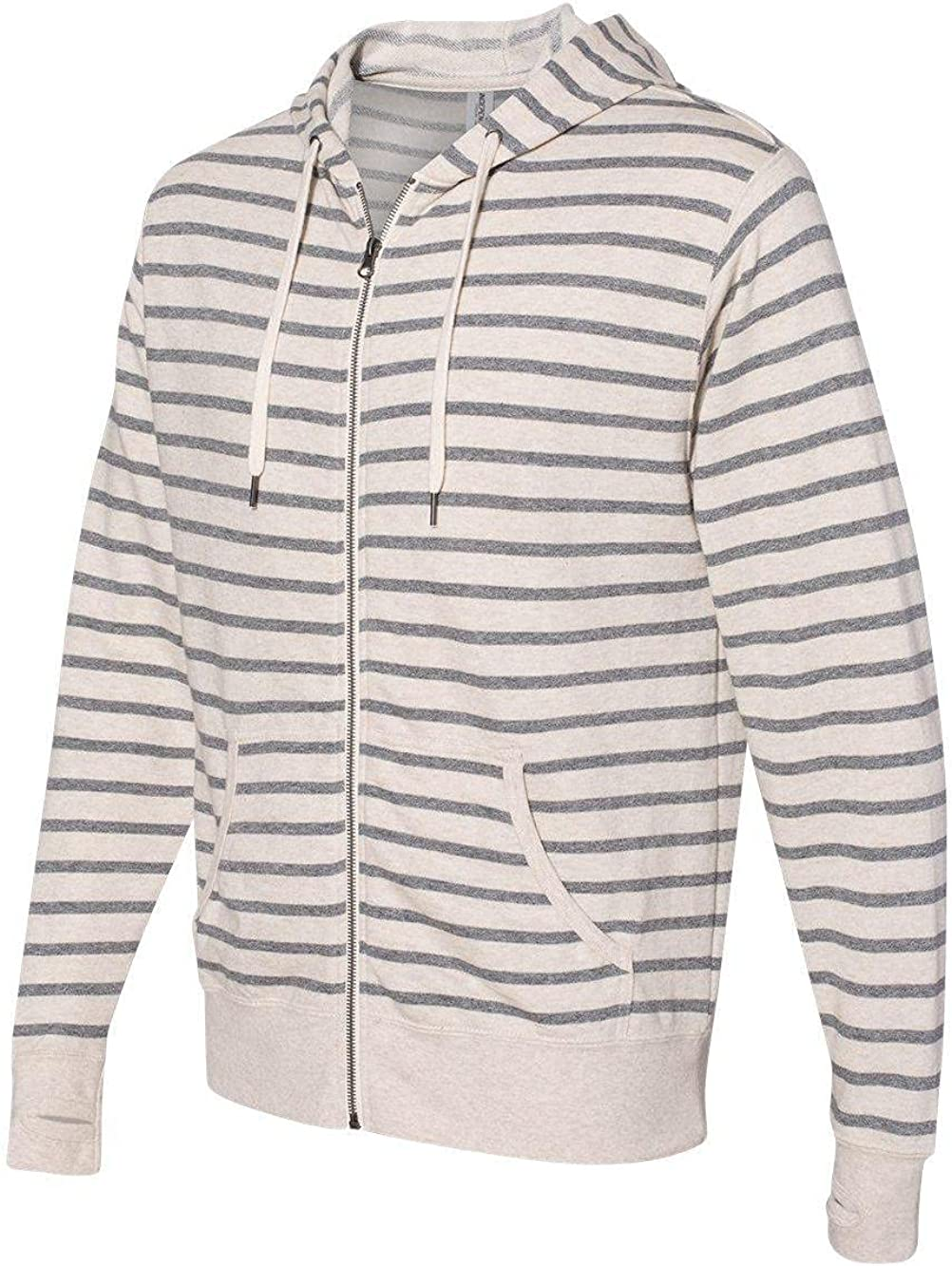 Independent Trading Co. - Unisex Heathered French Terry Full-Zip Hooded Sweatshirt - PRM90HTZ - 2XL - Oatmeal Heather/ Salt & Pepper Stripe