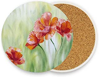 Illustration of Poppy Flowers Oil Painting on Canvas Romantic Design Print Coaster for Drinks Absorbent Stone Coaster, Cups Holder Coffee Mug Cup Mat Pack Of 1