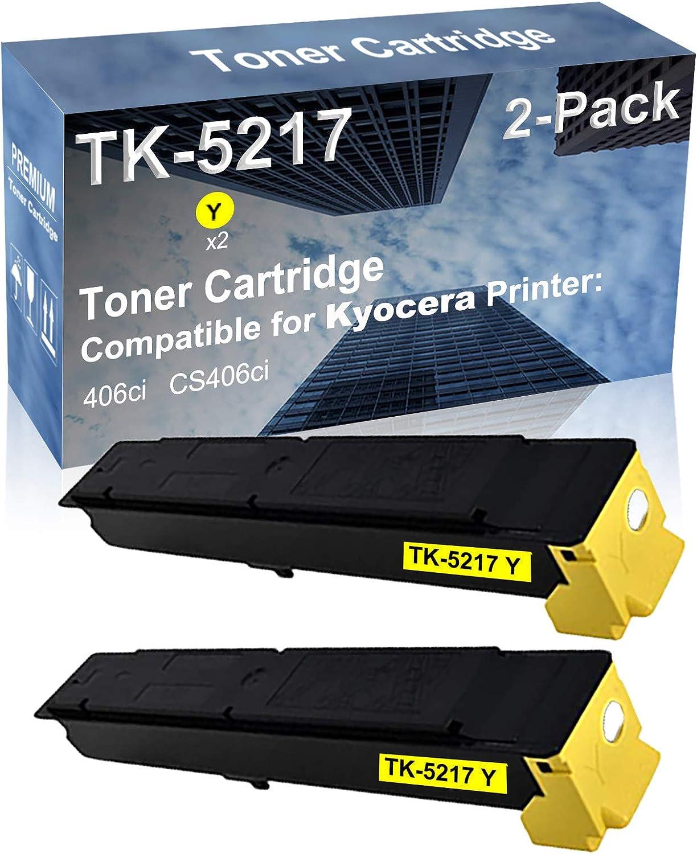 2-Pack (Yellow) Compatible High Yield TK5217 (TK-5217Y) Laser Printer Toner Cartridge Used for Kyocera Mita TASKalfa 406ci Printer
